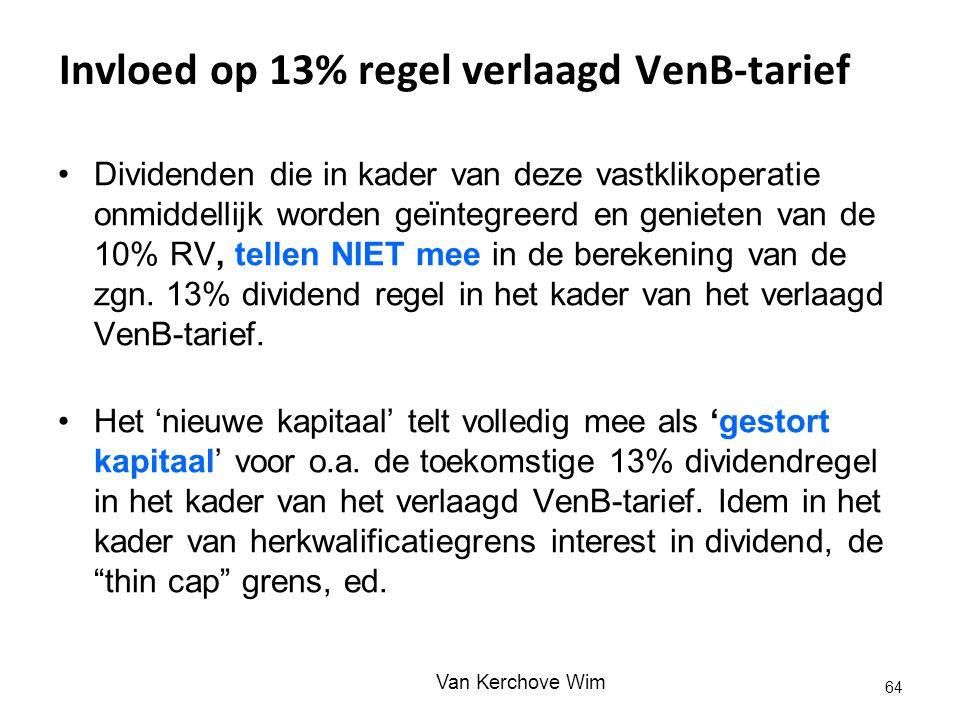 Invloed op 13% regel verlaagd VenB-tarief