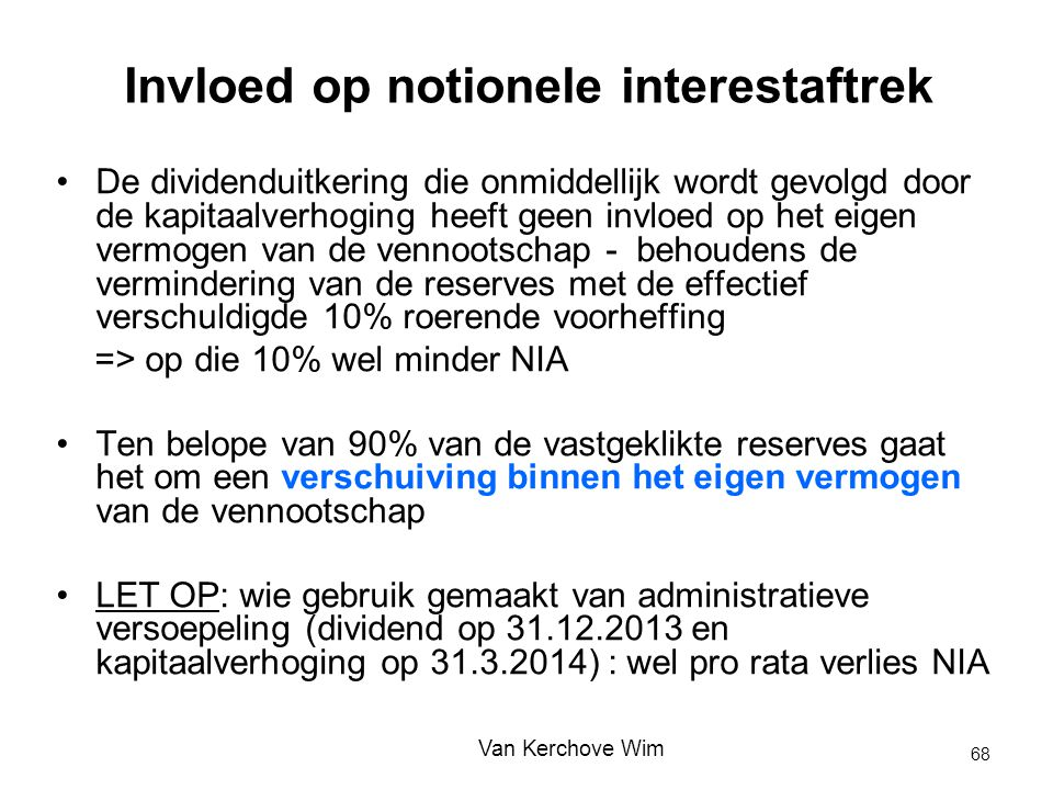 Invloed op notionele interestaftrek