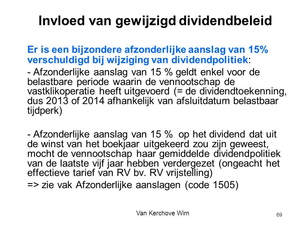 Invloed van gewijzigd dividendbeleid