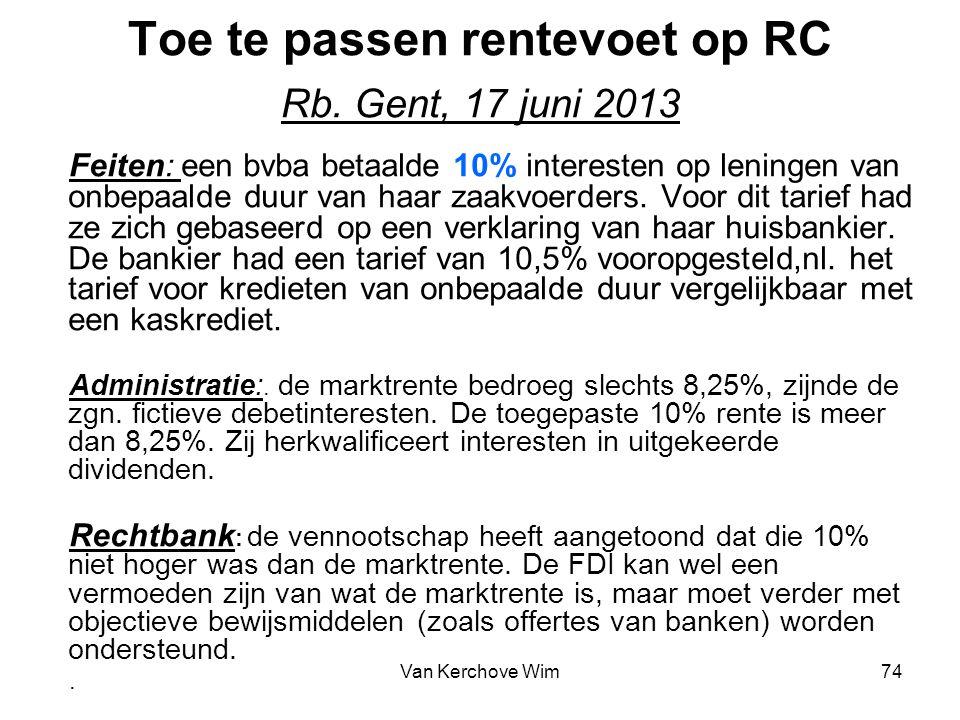Toe te passen rentevoet op RC Rb. Gent, 17 juni 2013