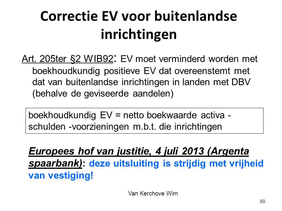 Correctie EV voor buitenlandse inrichtingen