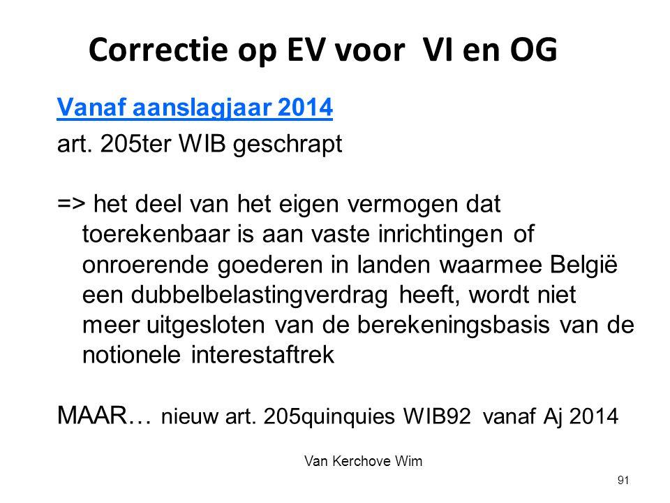 Correctie op EV voor VI en OG
