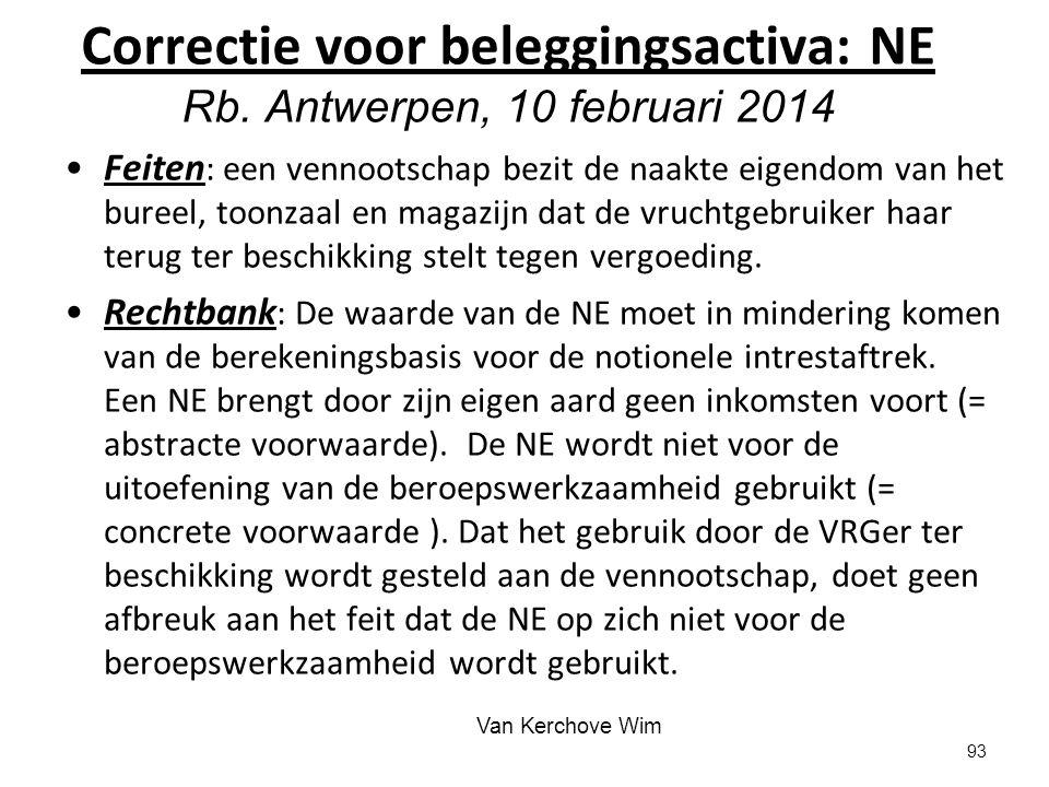 Correctie voor beleggingsactiva: NE Rb. Antwerpen, 10 februari 2014
