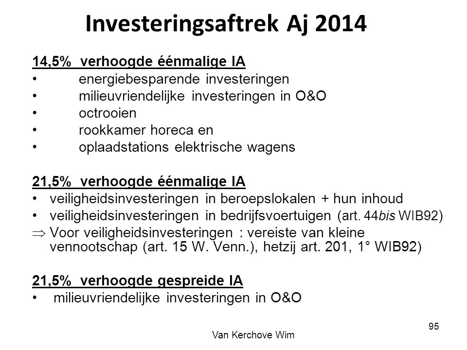 Investeringsaftrek Aj 2014