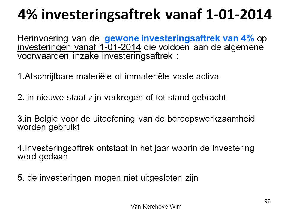 4% investeringsaftrek vanaf 1-01-2014