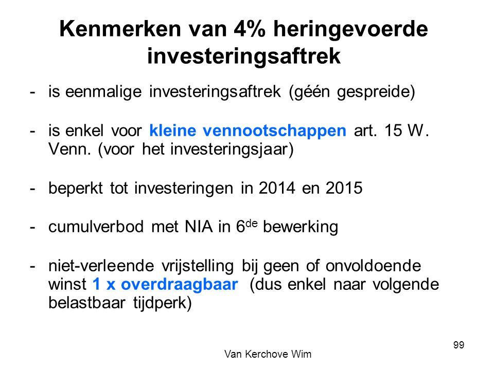 Kenmerken van 4% heringevoerde investeringsaftrek