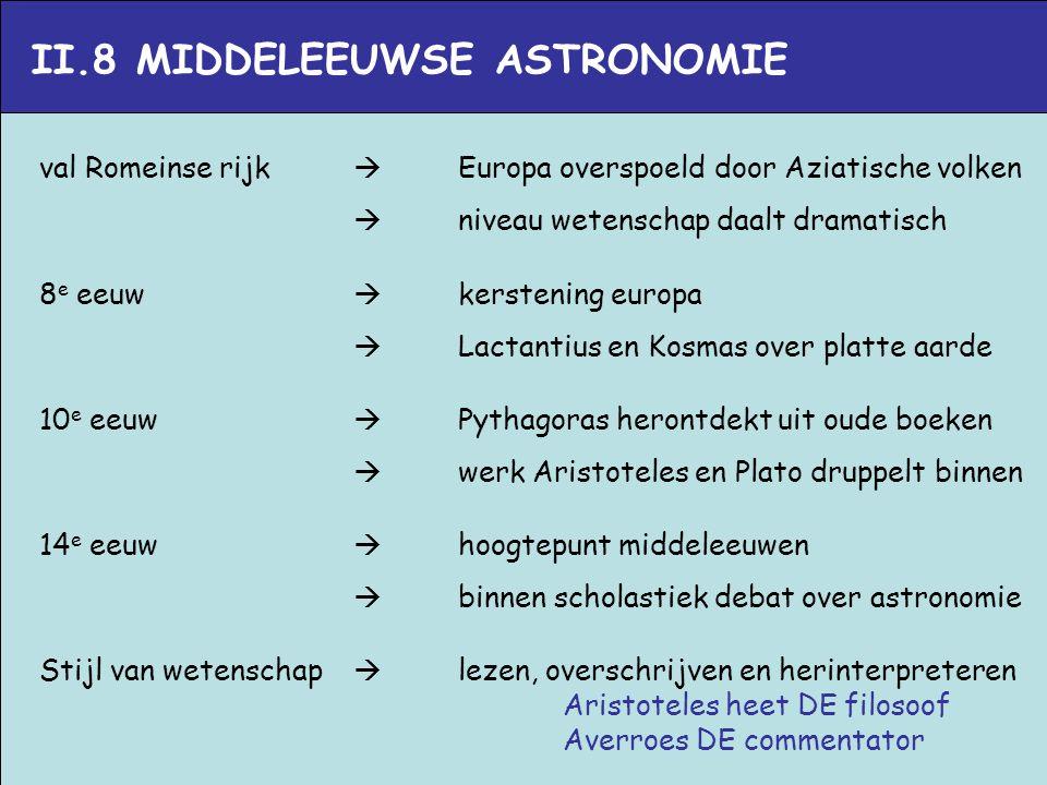 II.8 MIDDELEEUWSE ASTRONOMIE