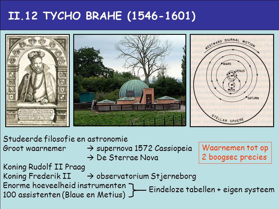 II.12 TYCHO BRAHE (1546-1601) Studeerde filosofie en astronomie
