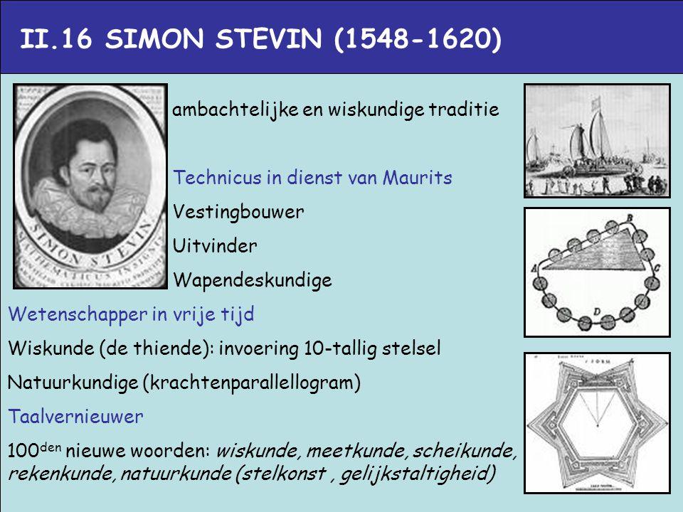 II.16 SIMON STEVIN (1548-1620) ambachtelijke en wiskundige traditie