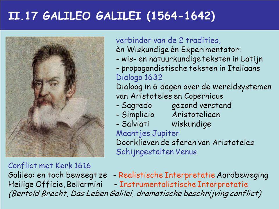 II.17 GALILEO GALILEI (1564-1642) verbinder van de 2 tradities,