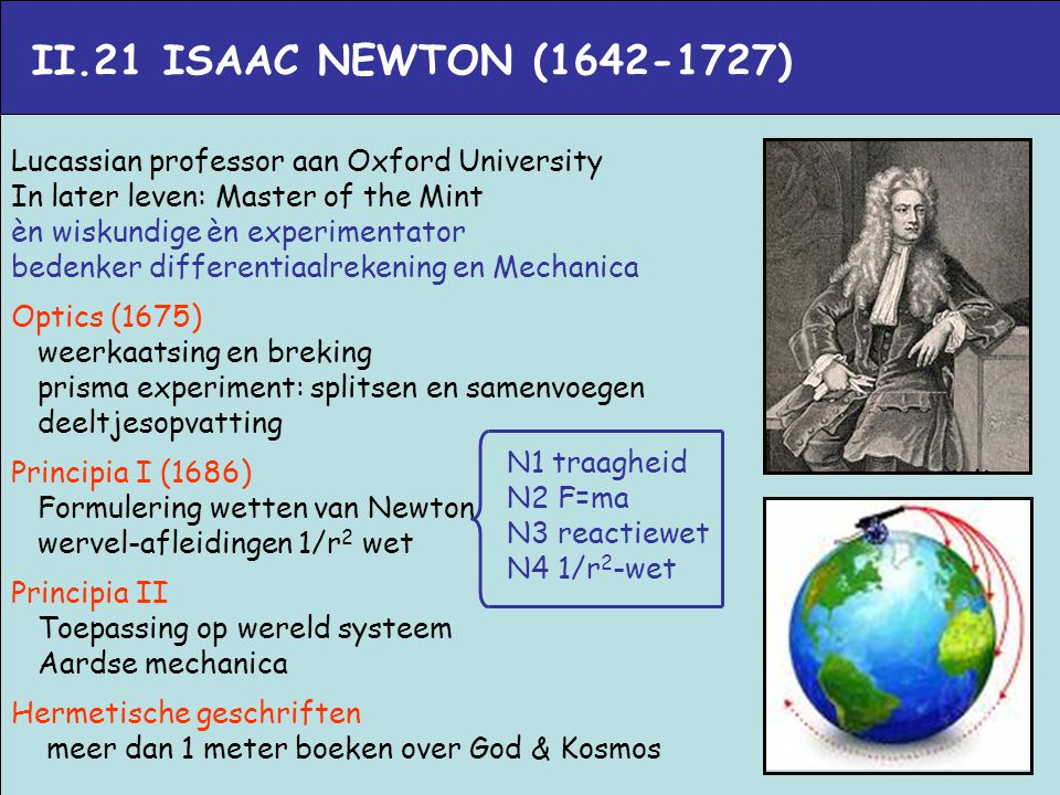 II.21 ISAAC NEWTON (1642-1727) Lucassian professor aan Oxford University. In later leven: Master of the Mint.