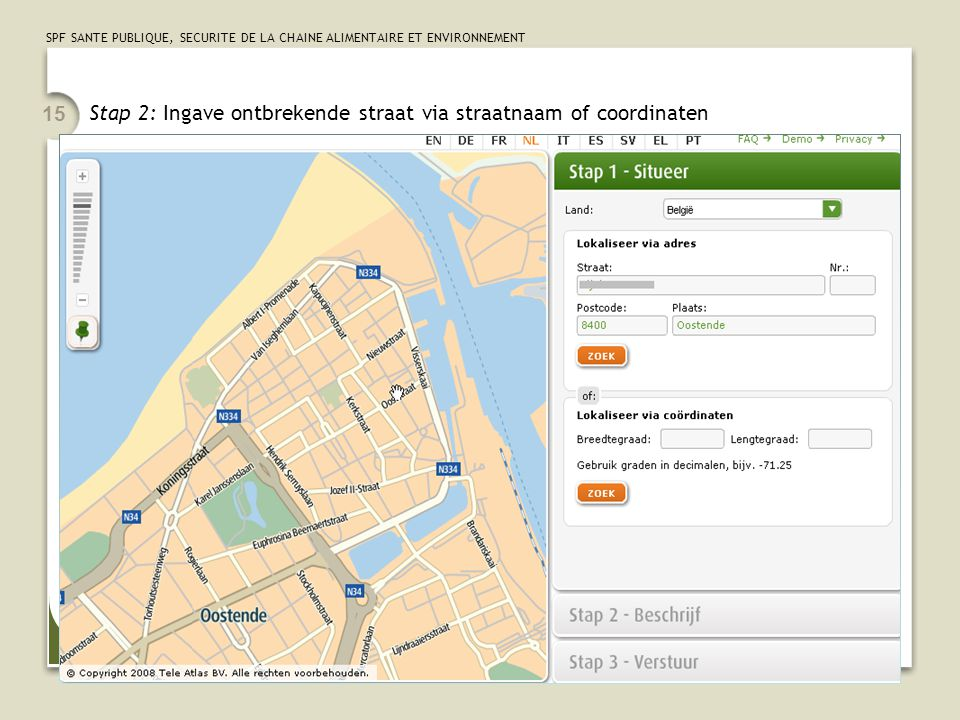 Stap 2: Ingave ontbrekende straat via straatnaam of coordinaten