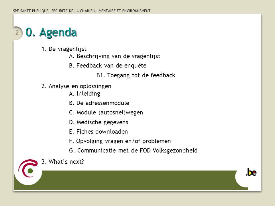 0. Agenda 1. De vragenlijst A. Beschrijving van de vragenlijst