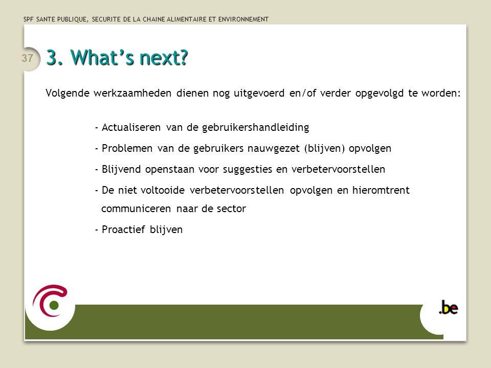 3. What's next Volgende werkzaamheden dienen nog uitgevoerd en/of verder opgevolgd te worden: - Actualiseren van de gebruikershandleiding.