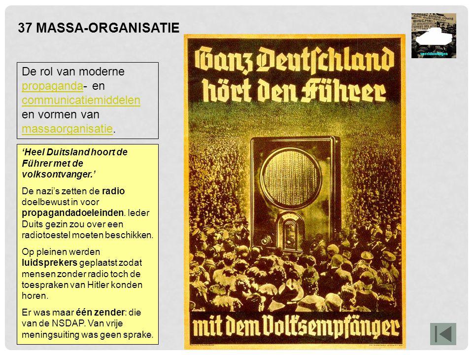 37 MASSA-ORGANISATIE De rol van moderne propaganda- en communicatiemiddelen en vormen van massaorganisatie.