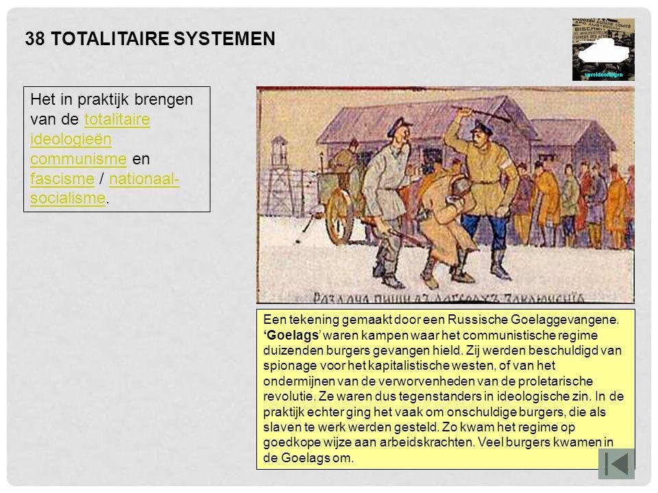 38 TOTALITAIRE SYSTEMEN Het in praktijk brengen van de totalitaire ideologieën communisme en fascisme / nationaal-socialisme.