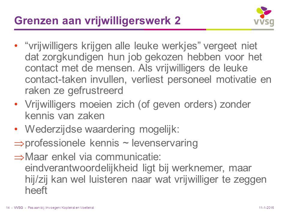 Grenzen aan vrijwilligerswerk 2