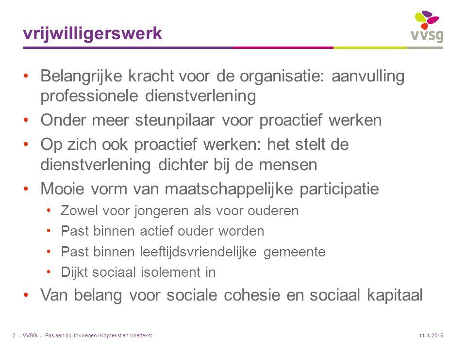 vrijwilligerswerk Belangrijke kracht voor de organisatie: aanvulling professionele dienstverlening.