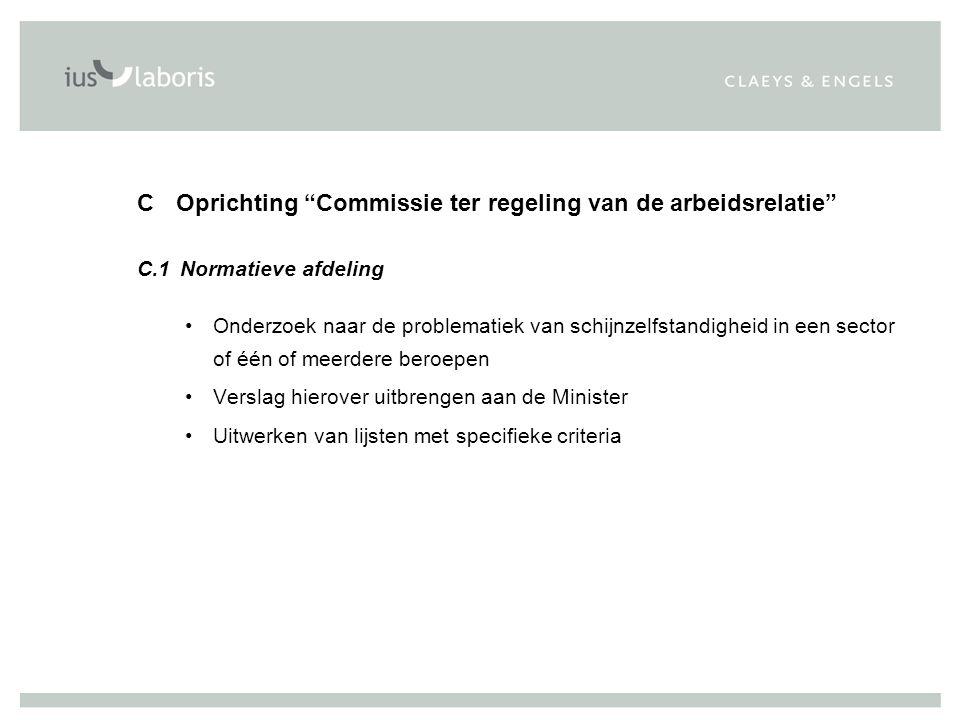 C Oprichting Commissie ter regeling van de arbeidsrelatie