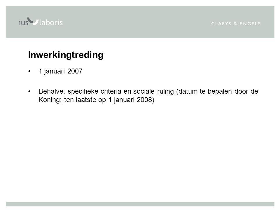 Inwerkingtreding 1 januari 2007