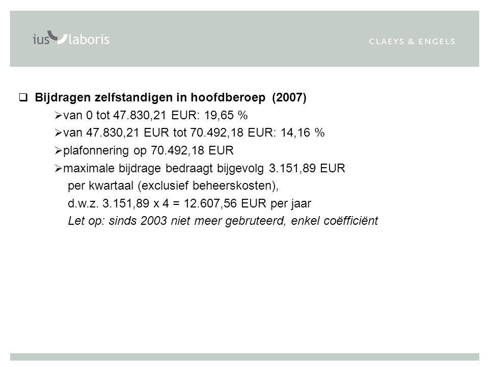 Bijdragen zelfstandigen in hoofdberoep (2007)