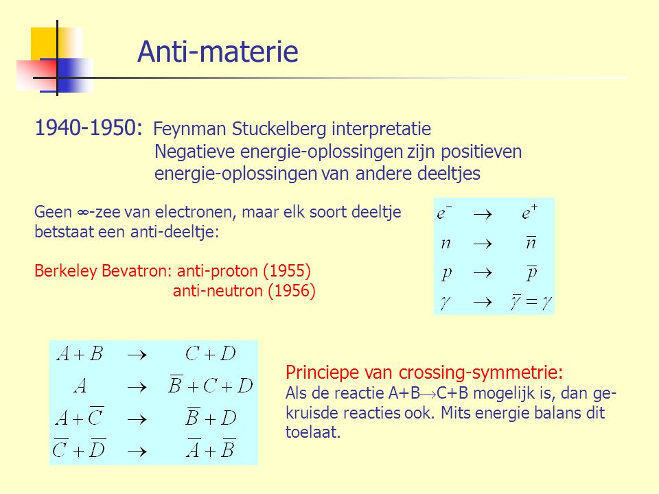 Anti-materie 1940-1950: Feynman Stuckelberg interpretatie