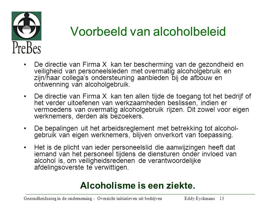 Voorbeeld van alcoholbeleid
