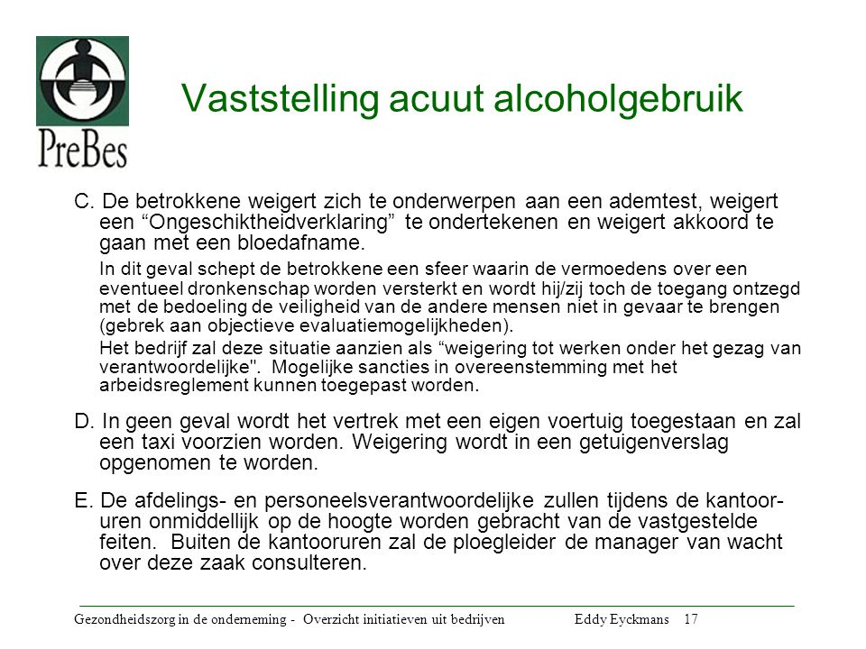Vaststelling acuut alcoholgebruik