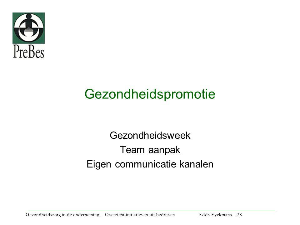 Gezondheidsweek Team aanpak Eigen communicatie kanalen