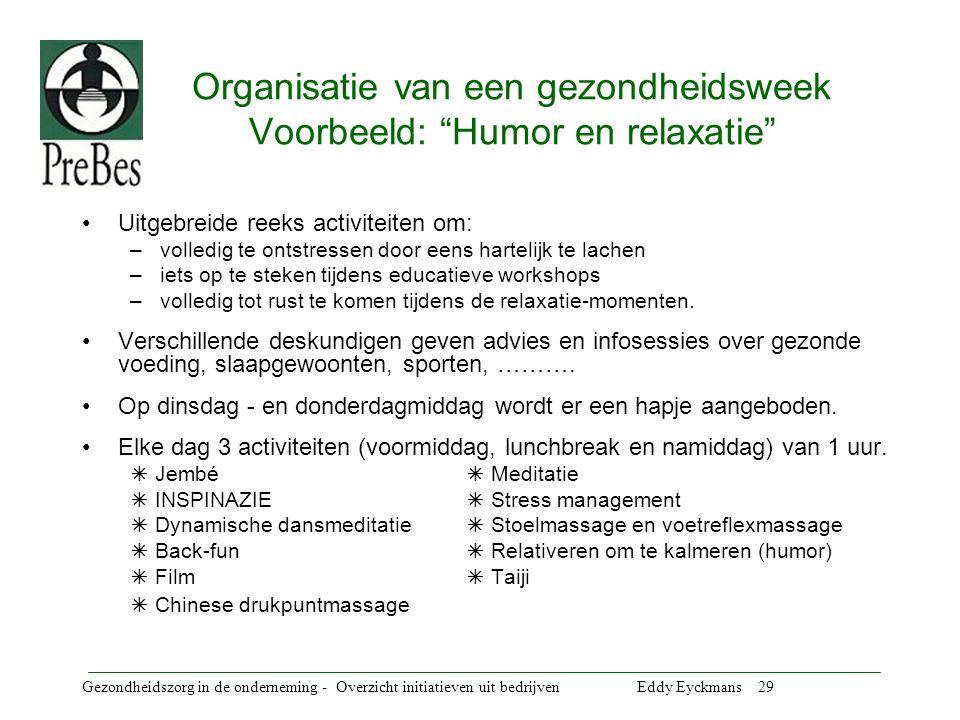 Organisatie van een gezondheidsweek Voorbeeld: Humor en relaxatie