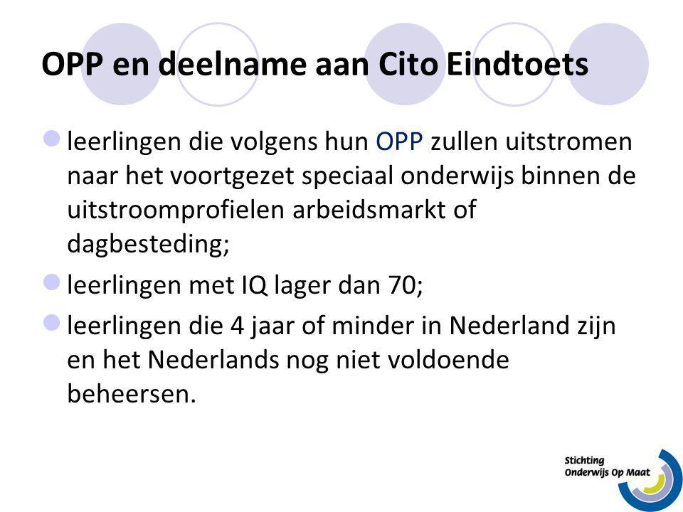 OPP en deelname aan Cito Eindtoets