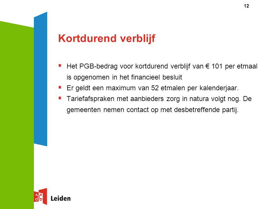 Kortdurend verblijf Het PGB-bedrag voor kortdurend verblijf van € 101 per etmaal is opgenomen in het financieel besluit.