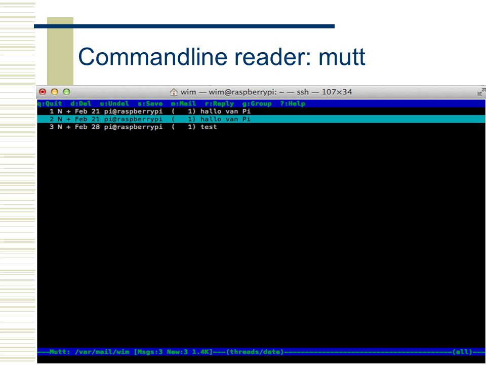 Commandline reader: mutt