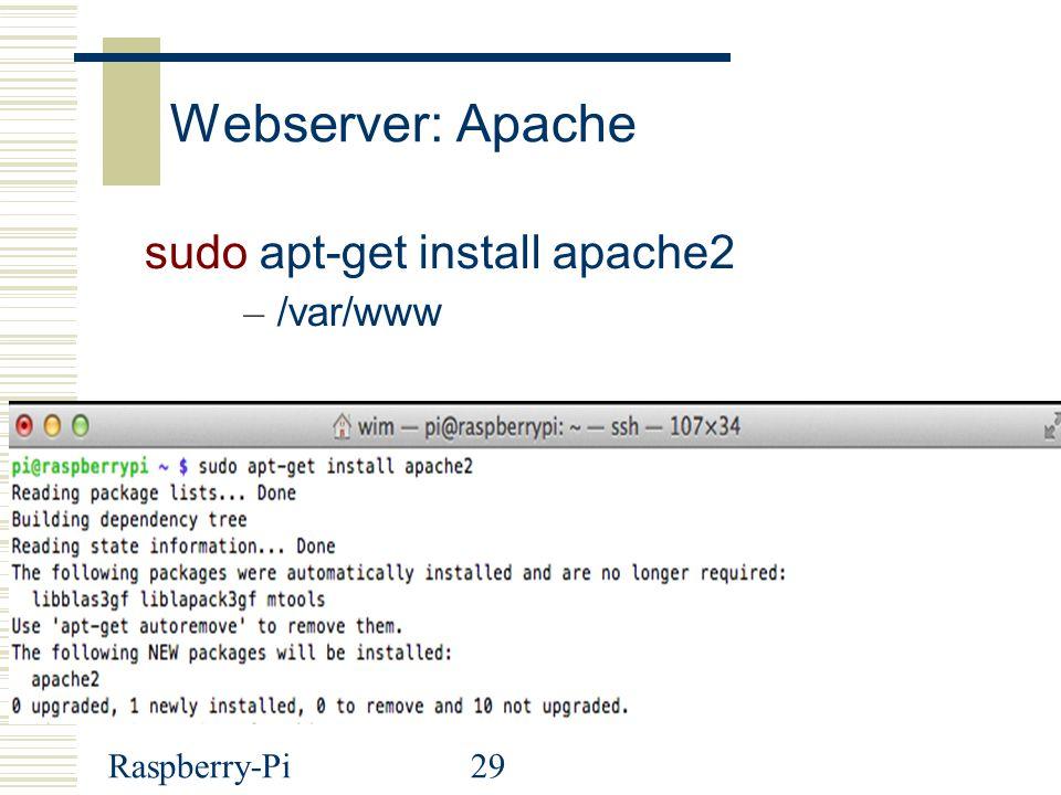 Webserver: Apache sudo apt-get install apache2 /var/www Raspberry-Pi