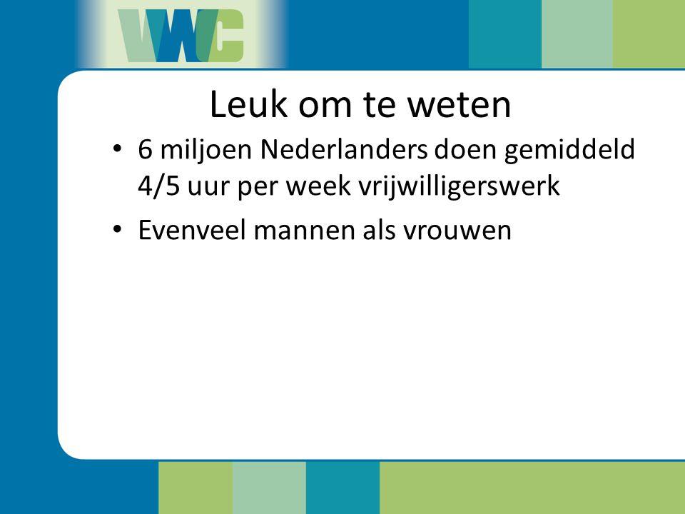 Leuk om te weten 6 miljoen Nederlanders doen gemiddeld 4/5 uur per week vrijwilligerswerk.