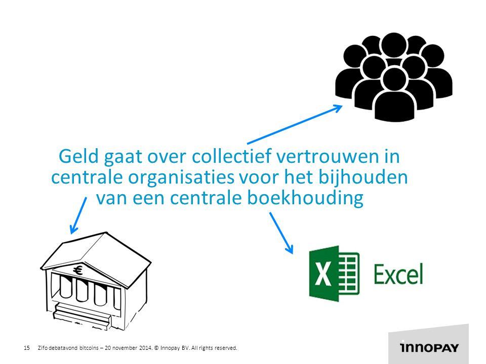 Geld gaat over collectief vertrouwen in centrale organisaties voor het bijhouden van een centrale boekhouding