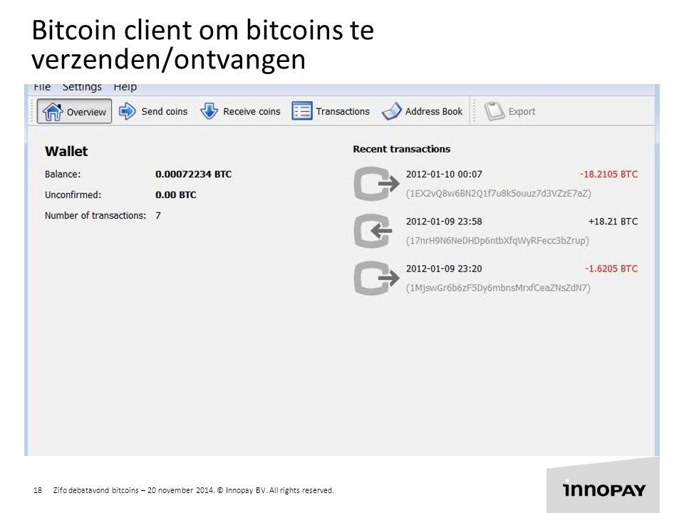 Bitcoin client om bitcoins te verzenden/ontvangen