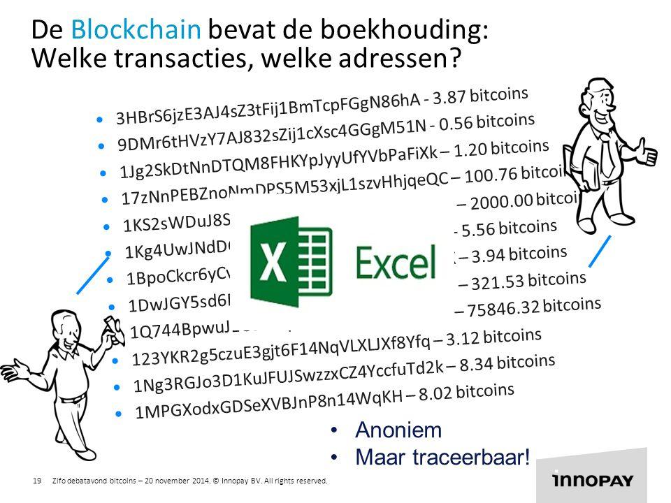 De Blockchain bevat de boekhouding: Welke transacties, welke adressen