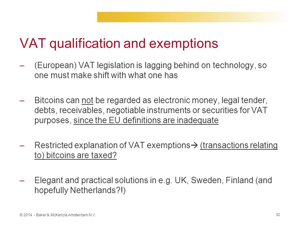 VAT qualification and exemptions