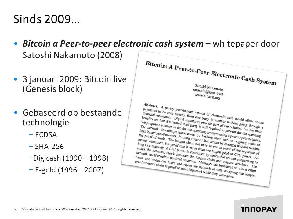 Sinds 2009… Bitcoin a Peer-to-peer electronic cash system – whitepaper door Satoshi Nakamoto (2008)