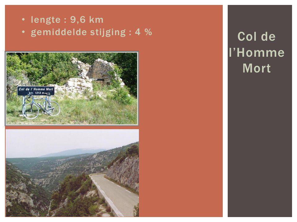 lengte : 9,6 km gemiddelde stijging : 4 % Col de l'Homme Mort