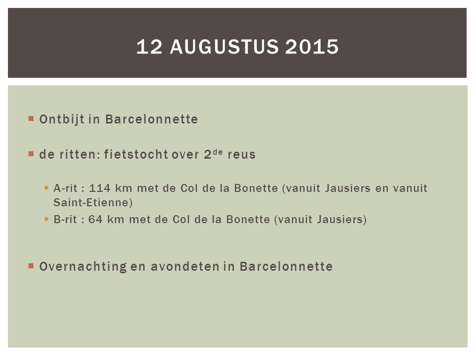 12 augustus 2015 Ontbijt in Barcelonnette