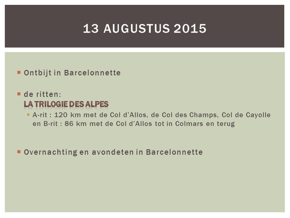 13 augustus 2015 Ontbijt in Barcelonnette