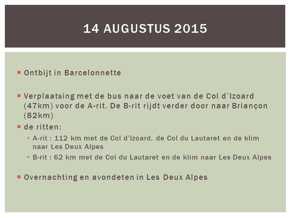 14 augustus 2015 Ontbijt in Barcelonnette