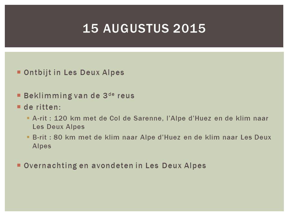 15 augustus 2015 Ontbijt in Les Deux Alpes Beklimming van de 3de reus