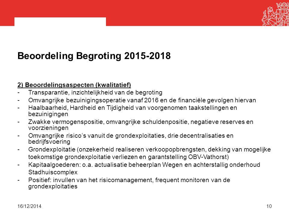 Beoordeling Begroting 2015-2018