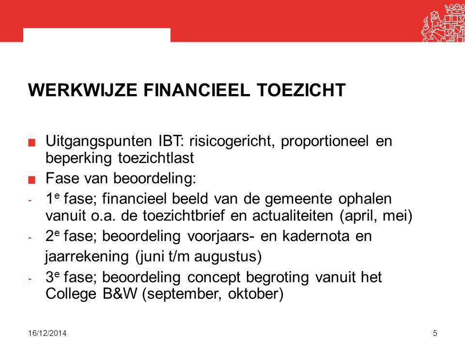 Werkwijze financieel toezicht