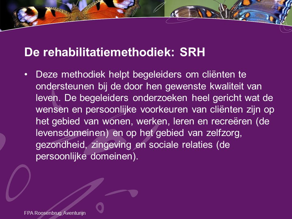 De rehabilitatiemethodiek: SRH
