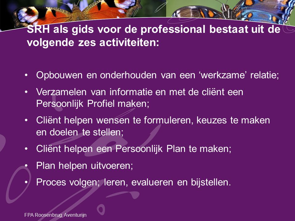SRH als gids voor de professional bestaat uit de volgende zes activiteiten: