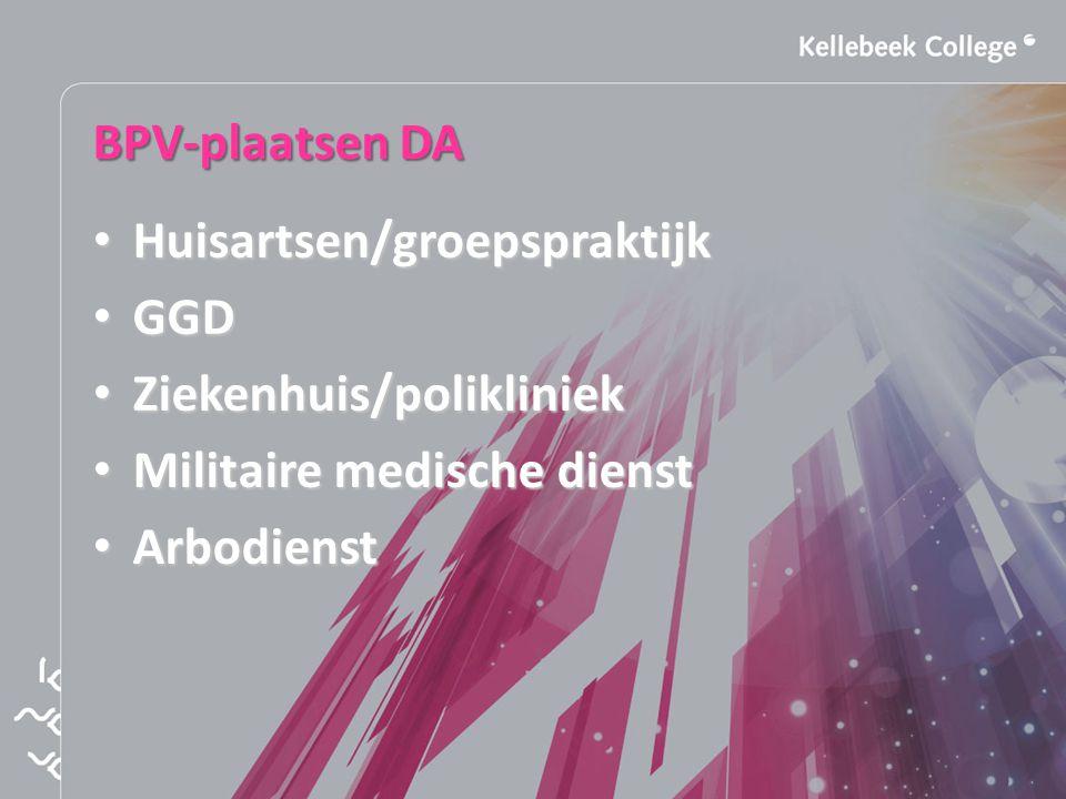 BPV-plaatsen DA Huisartsen/groepspraktijk. GGD. Ziekenhuis/polikliniek. Militaire medische dienst.